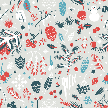 Beautiful seamless winter pattern with leaves, pine cones, snowflakes, berries, holly, branches. Vector background. 矢量图像