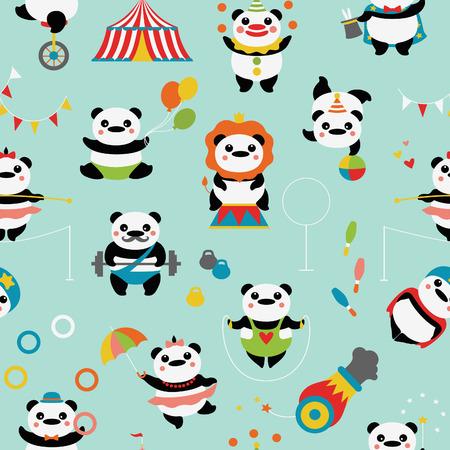bolos: Modelo inconsútil con los pandas lindos: payasos de circo, malabaristas, un mago, acróbatas, un atleta, un equilibrista, truco, carpa de circo, bolos, pesas, pelotas, banderas.