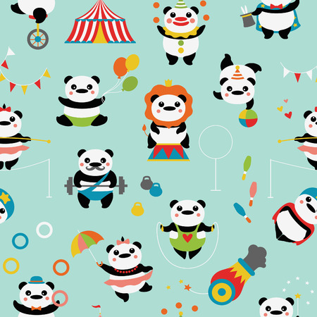 Seamless pattern with cute pandas: circus clowns, jugglers, a magician, acrobats, an athlete, a tightrope walker, stunt, circus tent, bowling, dumbbells, balls, flags.