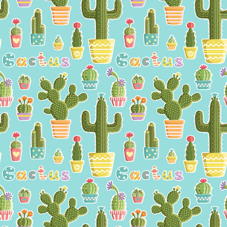 cacti: Seamless pattern with cacti in pots of different shapes and colors created in a fun, cute style. Vector card