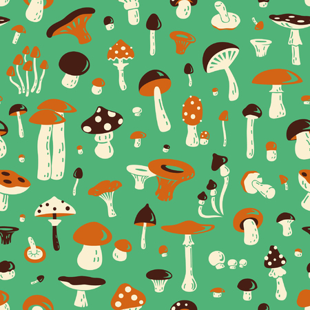 edible: Seamless pattern with mushroom. For fabric, postcards, prints, posters, covers, wallpaper Illustration