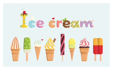 ice cream sundae: Set of multicolored cute ice cream. For postcards, prints, posters, decorations, labels, cloth. Illustration