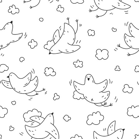 Seamless pattern with cute birds soaring in the clouds. For fabric, postcards, prints, posters, covers, wallpaper
