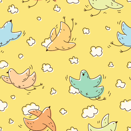 Seamless pattern with multicolored cute bird soaring in the clouds. For fabric, postcards, prints, posters, covers, wallpaper