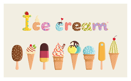 Set of multicolored cute ice cream. For postcards, prints, posters, decorations, labels, cloth. 矢量图像
