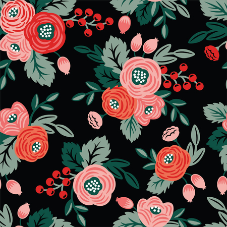 Floral seamless pattern on a black background. For wallpaper, fabrics, decorations, prints, designs