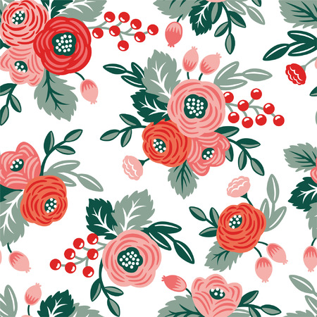 Floral seamless pattern on a white background. For wallpaper, fabrics, decorations, prints, designs