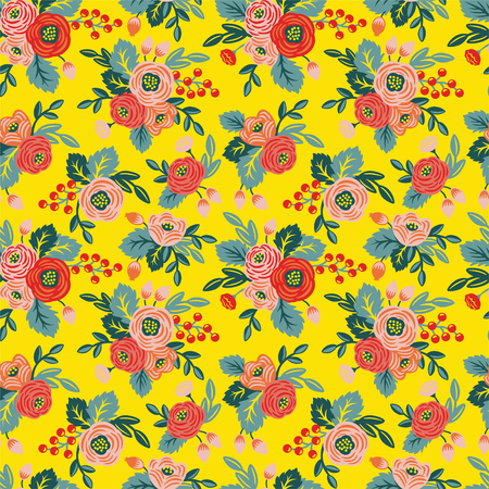 Floral seamless pattern on a yellow background. For wallpaper, fabrics, decorations, prints, designs