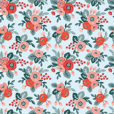 Floral seamless pattern on a blue background. For wallpaper, fabrics, decorations, prints, designs