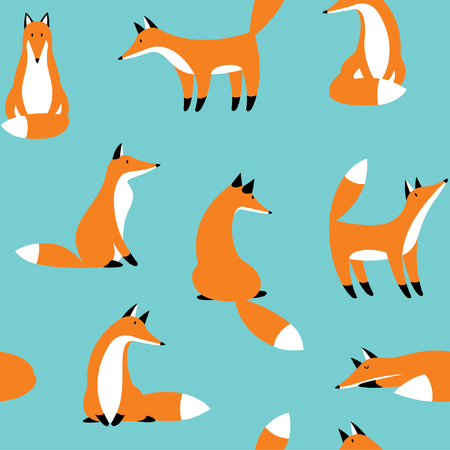 Seamless pattern with cute red foxes. For wallpaper, fabrics, decorations, prints, designs