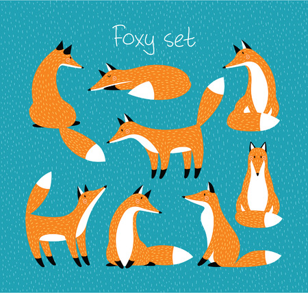 Set with cute red foxes. For postcards, prints, designs, stickers