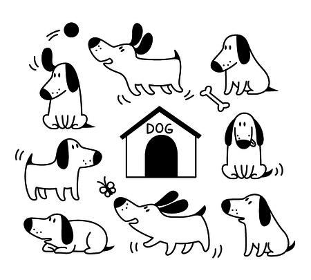 Cute dogs set