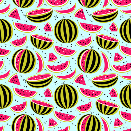 Seamless pattern with watermelons on blue background for print, card, posters, decoration, cover, textiles