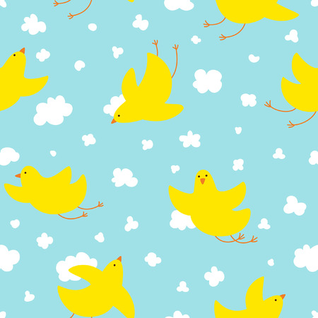 Seamless pattern with yellow cute bird soaring in the clouds. For children fabric, postcards, prints, posters, covers, wallpaper