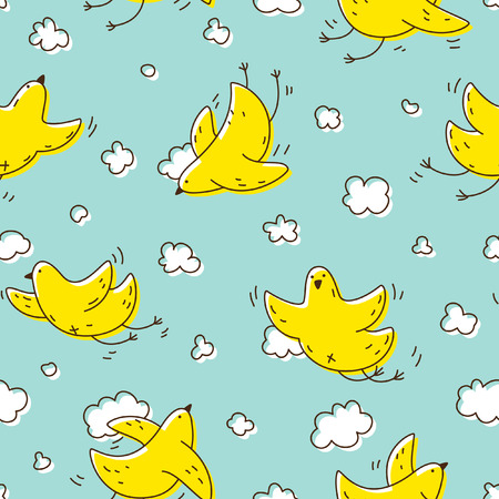 soaring: Seamless pattern with yellow cute bird soaring in the clouds. For children fabric, postcards, prints, posters, covers, wallpaper