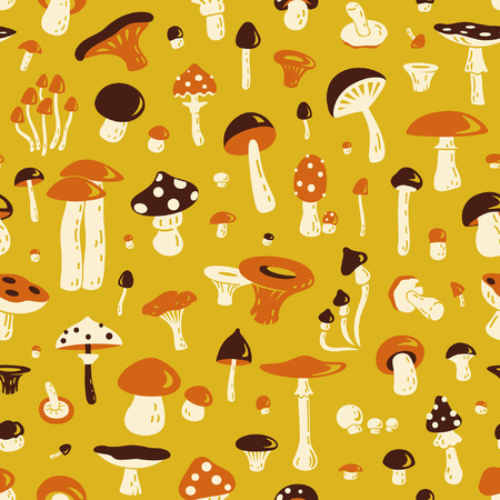 morel: Mushroom seamless pattern