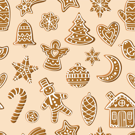 moon angels: Seamless pattern with gingerbread figures. For the decorations, cards, prints