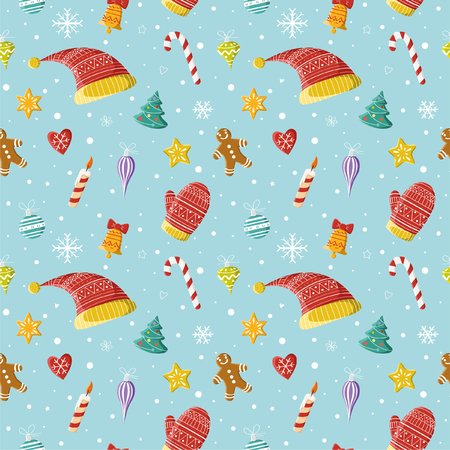 Christmas seamless pattern. New year and Christmas objects: Christmas decorations, hats, mittens. Picture for prints, Christmas cards, decoration, covers, poster, print, banner, invitation.