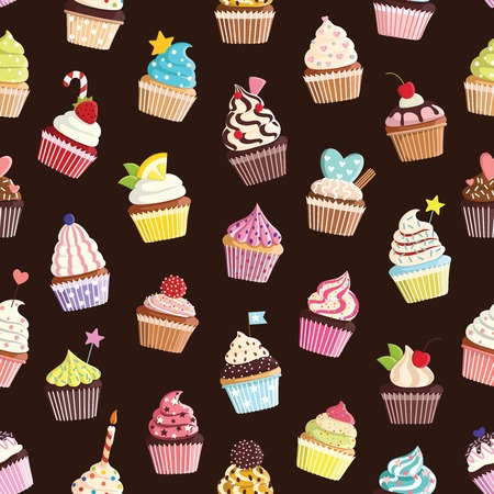 Pattern with cute colorful cupcake. For textiles, cards, decorations, wallpaper 矢量图像
