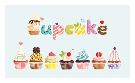 Set of multicolored cute cupcakes. For postcards, stickers, prints, posters, decorations, labels, cloth.