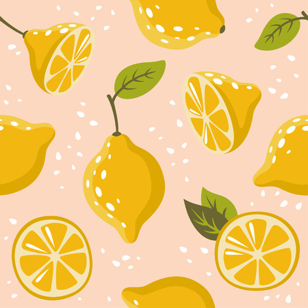 The pattern with lemons on pink 矢量图像