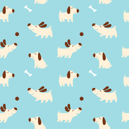 The pattern with cute puppies 矢量图像