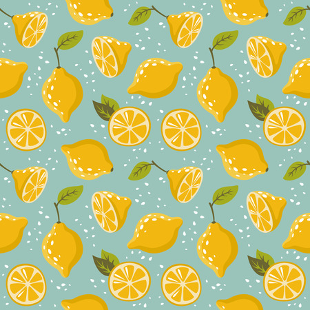 The pattern with lemons on blue