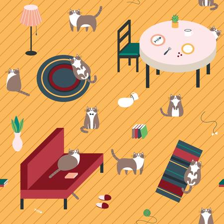 Seamless pattern with cute cats on the floor
