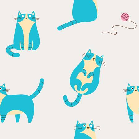 Seamless pattern with blue funny cats 矢量图像