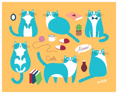 speech buble: Set with blue cute cats