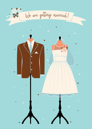Wedding invitations with wedding suit. Vector illustration Illustration