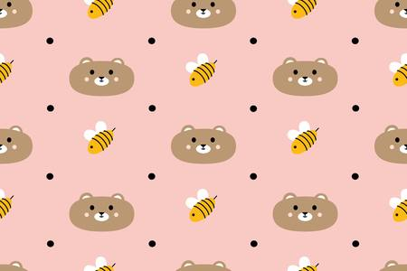 Seamless pattern with cute bears and bees. Vector illustration. For textiles, cards, decorations, wallpaper