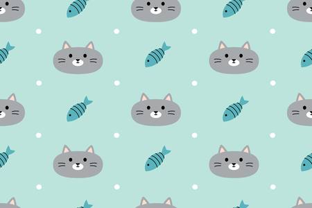 cute animal: Seamless pattern with cute cats and fish. Vector illustration. For textiles, cards, decorations, wallpaper Illustration