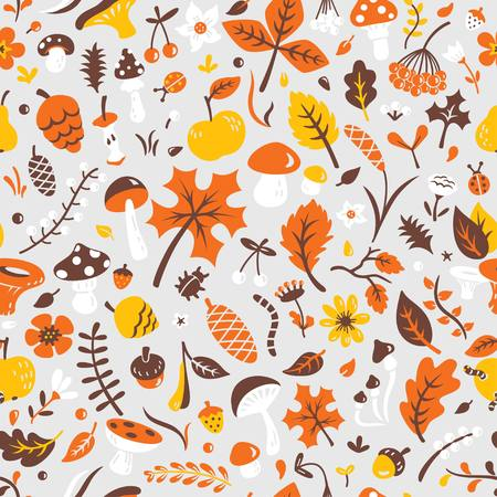 Seamless autumn pattern with mushrooms, leaves, pine cones, berries, bugs, flowers, apple, pear, acorn, branches. Vector background