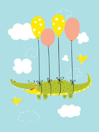 Cute crocodile flies in the sky on balloons