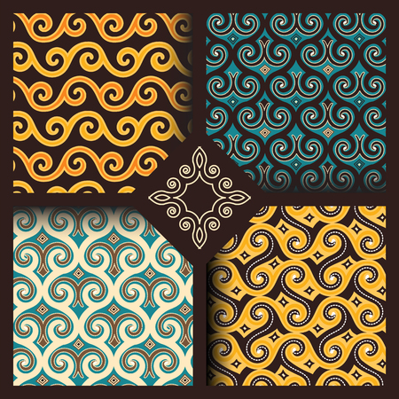 Set of four seamless patterns in vintage indonesian batik, islamic, japanese, arabic, eastern, oriental style for restaurant menu, flyer, business card, brochure, book cover, banner, etc. Vettoriali