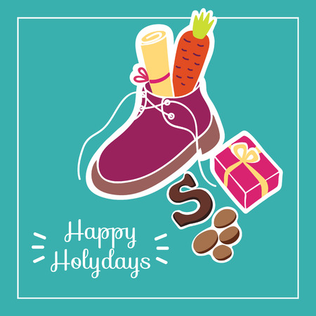 Cute greeting card for Saint Nicholas (Sinterklaas) day with shoe, carrot, gift box and text block.