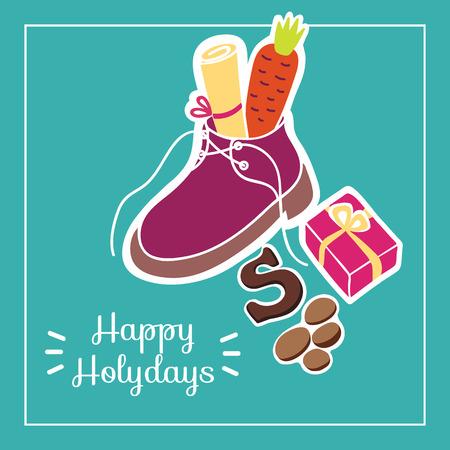 Nette Grußkarte für Tag Sankt Nikolaus (Sinterklaas) mit Schuh-, Karotten-, Geschenkbox- und Textblock. Standard-Bild - 88760856