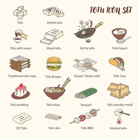 Cooking Tofu icon collection. Asian Cuisine ingredient. Soy milk processing. Colored Line art icons, isolated on the light background.