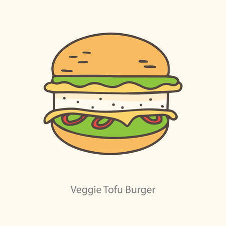 Tofu burger icon, symbol, label. Line art, isolated on the light background.