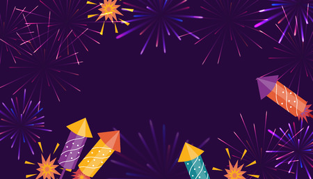Brightly colorful Fireworks and rockets on purple background with text block. Good for banners, flyers, greetings cards.