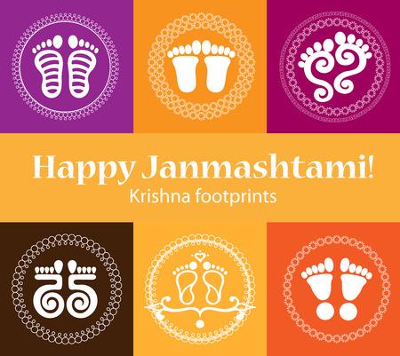 Krishna Janmashtavi Holiday Symbols. Traditional design of rangoli with Krishna's footprints symbolising the arrival of Lord Krishna.