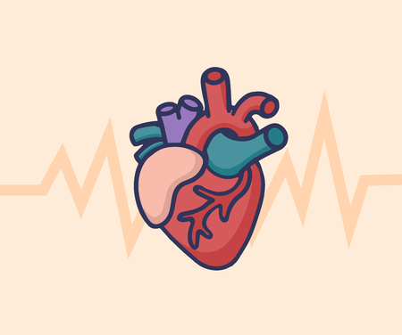 Human heart concept. Healthcare and Medical logo concept. Vector illustration in cartoon doodle style. Ilustração