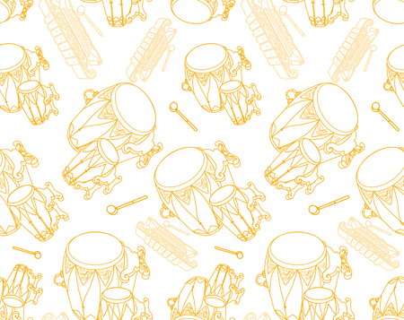 Seamless pattern background with kendhang and sarong - elements of Indonesian traditional Gamelan orchestra.
