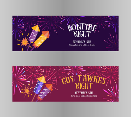 Bonfire night (Guy Fawkes day) flayers contains firecrackers, fireworks and text block on the purple background Illustration