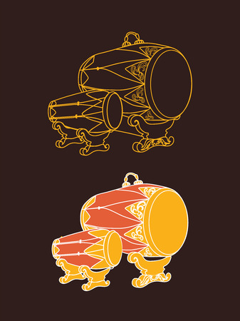Kendhang - traditional Indonesian musical instrument. Element of Gamelan orchestra. Line art vector drum.