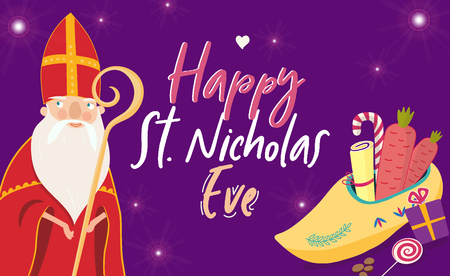 Cartoon style greeting card with Saint Nicholas (Sinterklaas) with mitre and pastoral staff and with traditional dutch shoe filled with carrots and candies. With hand drawn text.