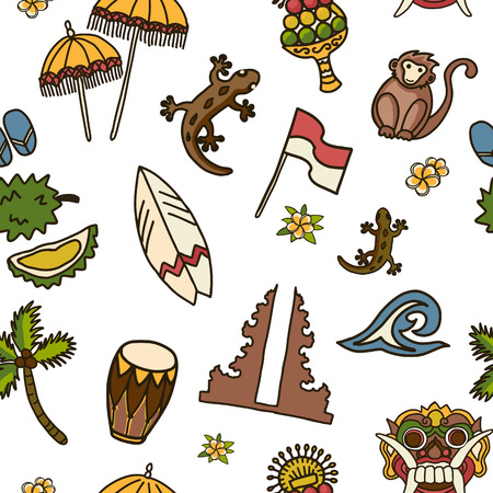 Bali vector seamless pattern. Balinese traditional Temple, Barong mask, monkey, surf board, gecko, cacoa palm tree, Indonesian flag, frangipani flowers, wave, durian on the white background. Иллюстрация