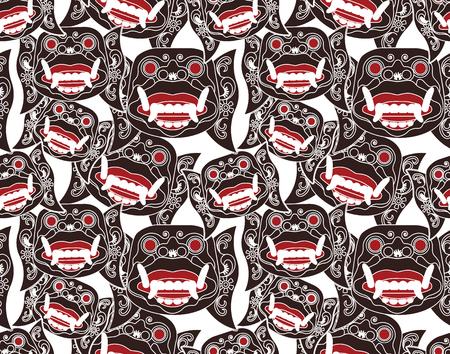 Head of Hanuman, the monkey warrior semless pattern background.