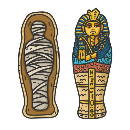Ancient Egyptian Pharaon Tutankhamuns Sarcophagus with a bandaged Mummy Inside